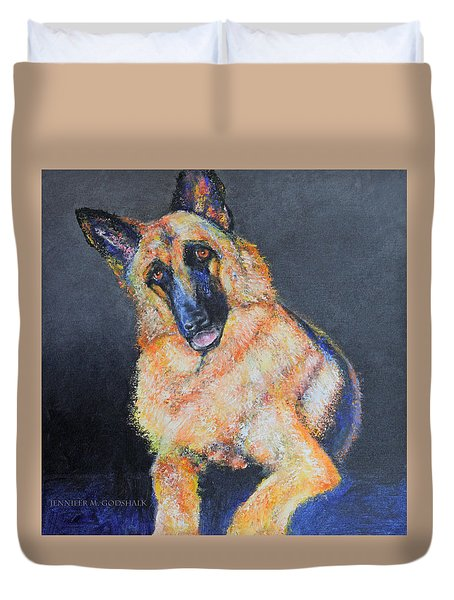 My Dog Jake German Shepherd Painting Duvet Cover