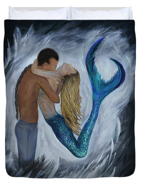 Duvet Cover featuring the painting My Dream Mermaid by Leslie Allen