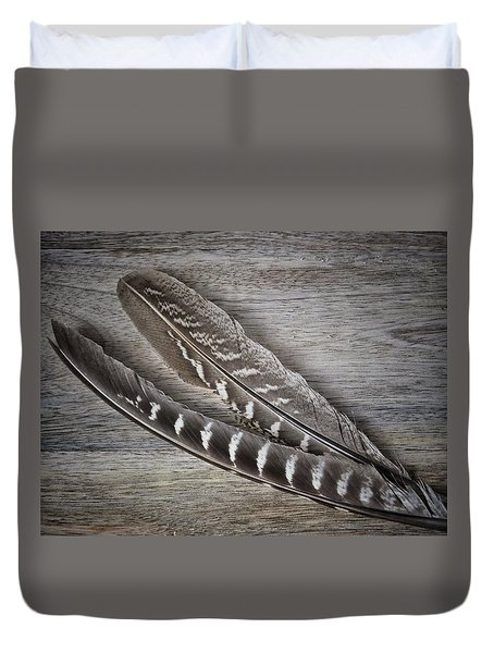 Duvet Cover featuring the photograph My Fabulous Feathery Find. by Karen Stahlros