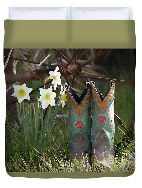 Duvet Cover featuring the photograph My Favorite Boots by Benanne Stiens