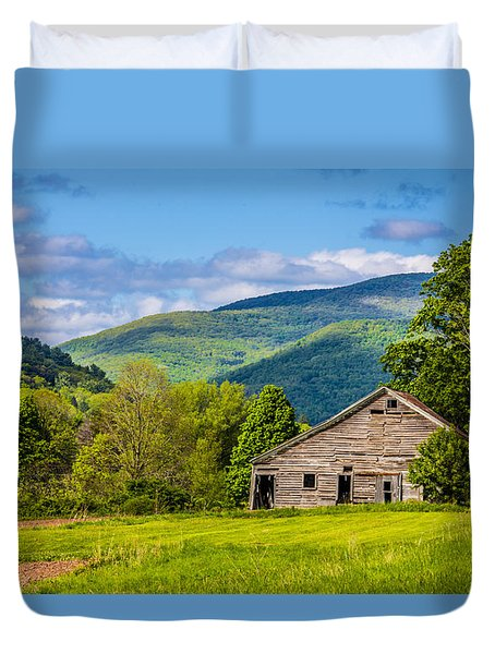 Duvet Cover featuring the photograph My Favorite Cabin In The Rolling Mountains by Paula Porterfield-Izzo