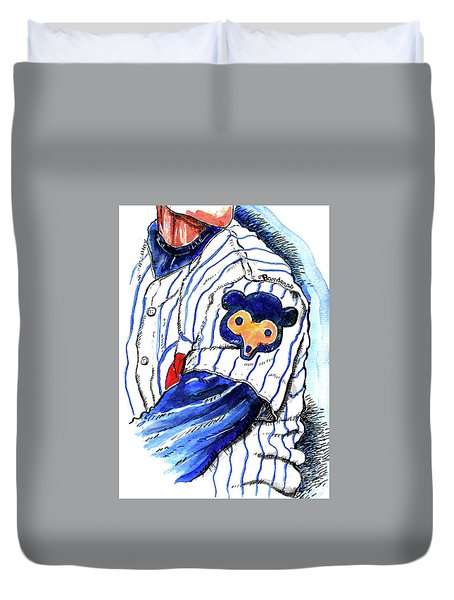 My Favorite Chicago Cub Duvet Cover by Terry Banderas
