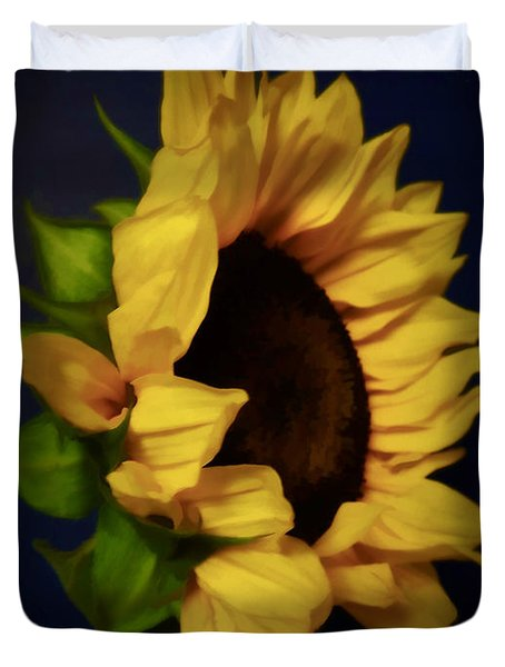 My Favorite Sunflower . A Portrait Duvet Cover by Renee Trenholm
