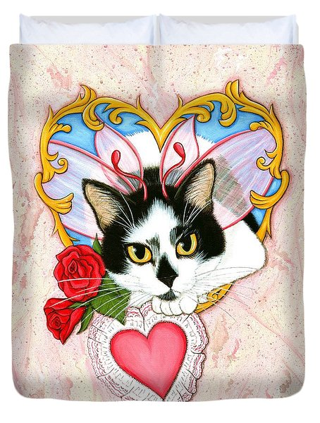 Duvet Cover featuring the painting My Feline Valentine Tuxedo Cat by Carrie Hawks