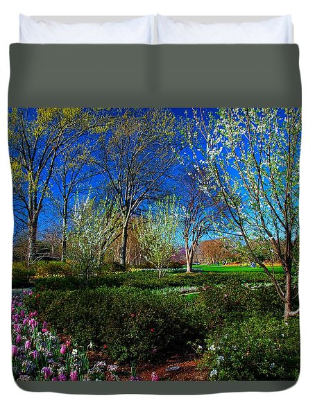 My Garden In Spring Duvet Cover by Diana Mary Sharpton
