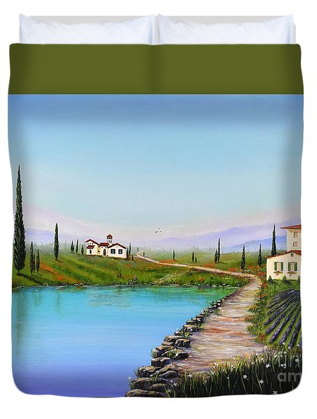 Duvet Cover featuring the painting My Garden by Mary Scott
