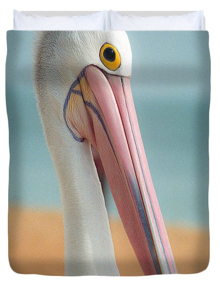 My Gentle And Majestic Pelican Friend Duvet Cover