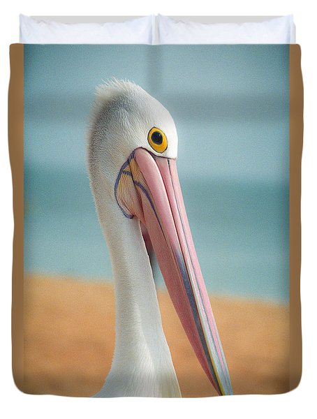 Duvet Cover featuring the photograph My Gentle And Majestic Pelican Friend by T Brian Jones