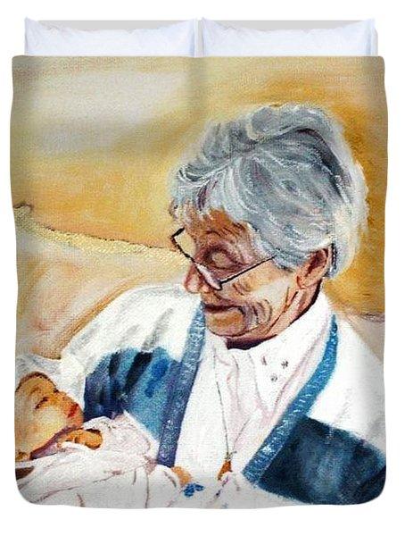 my granddaughter Leonie with her great grandmum Duvet Cover by Helmut Rottler