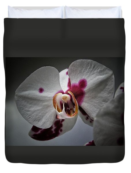 Duvet Cover featuring the photograph My Growling Dragon Orchid. by Karen Stahlros