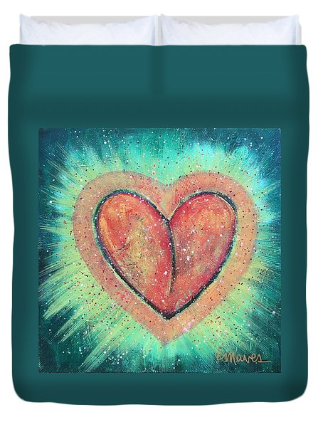 Duvet Cover featuring the painting My Heart Loves You by Laurie Maves ART