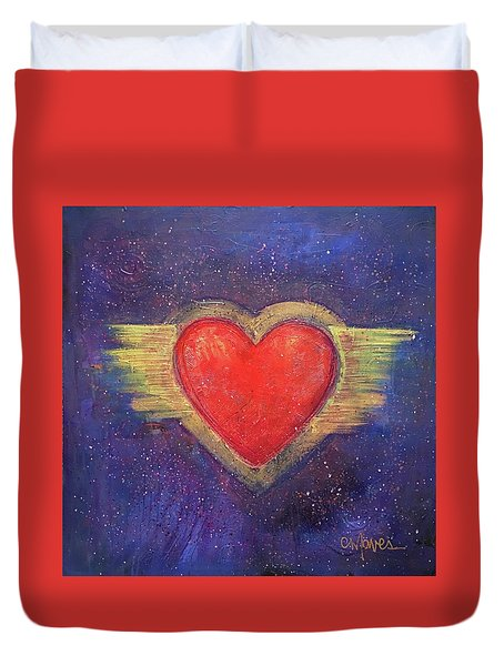 Duvet Cover featuring the painting My Heart My Strength by Laurie Maves ART
