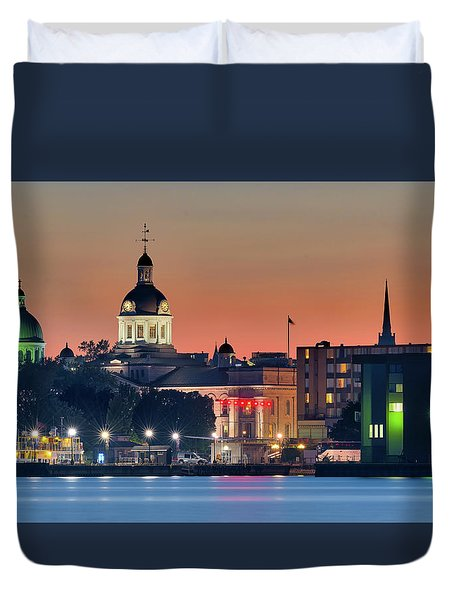 My Home Town At Night... Duvet Cover