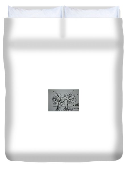 My House Is On That Side Duvet Cover by Usha Rai