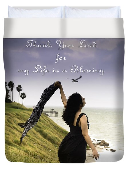My Life A Blessing Duvet Cover