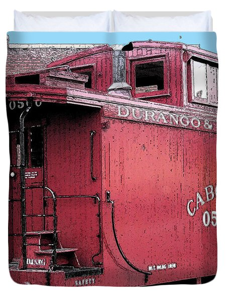 Duvet Cover featuring the digital art My Little Red Caboose by Gary Baird