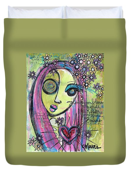 My Love For You Blooms Duvet Cover by Laurie Maves ART