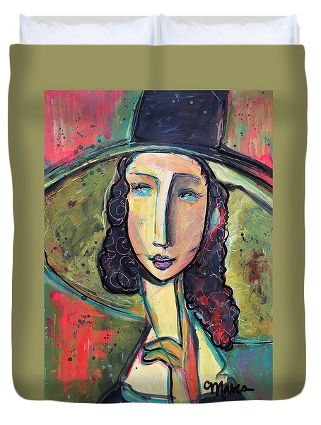 Duvet Cover featuring the painting My Love Lies In Livorno by Laurie Maves ART