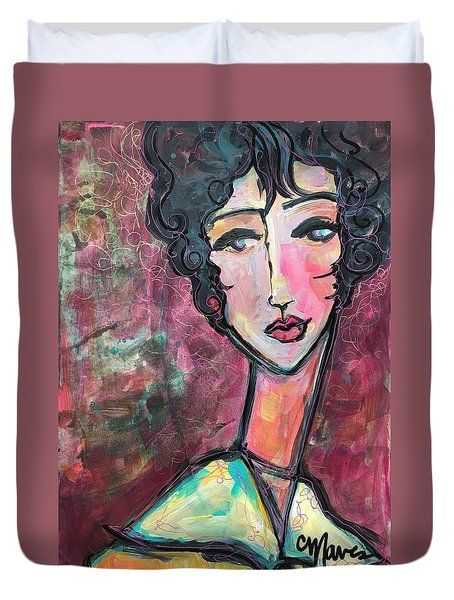 Duvet Cover featuring the painting My Love Lies In Venezia by Laurie Maves ART