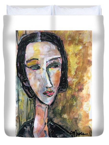 Duvet Cover featuring the painting My Love Lies On The Amalfi by Laurie Maves ART