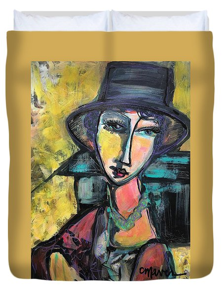 Duvet Cover featuring the painting My Love Lies With Florence by Laurie Maves ART