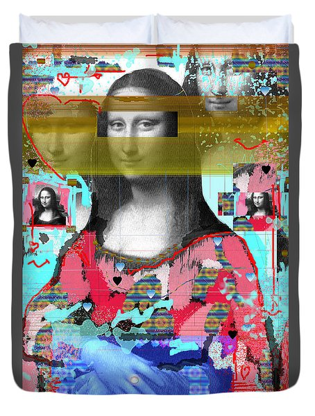 Duvet Cover featuring the digital art My Mona by Sladjana Lazarevic