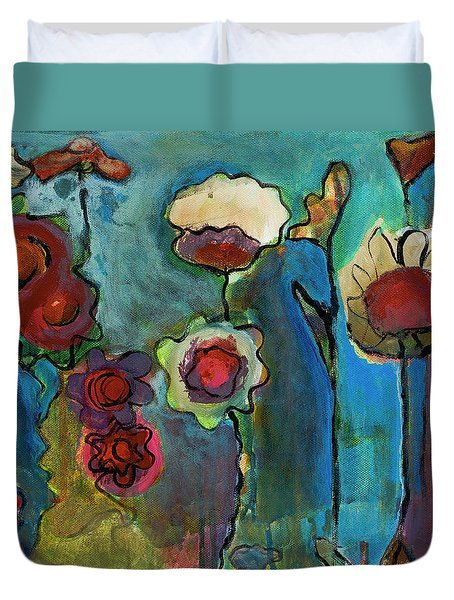 Duvet Cover featuring the painting My Mother's Garden by Susan Stone