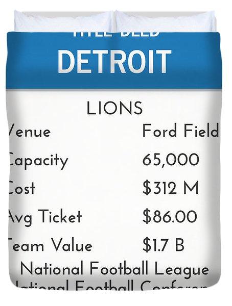 My Nfl Detroit Lions Monopoly Card Duvet Cover