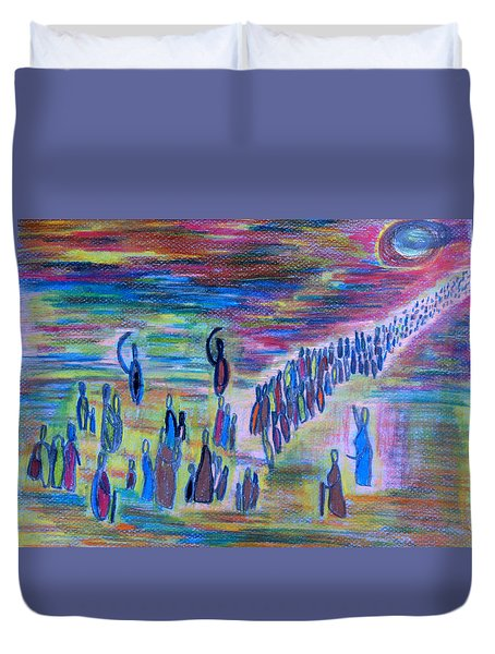 Duvet Cover featuring the drawing My People by Vadim Levin