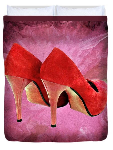 My Red Shoes Duvet Cover by Ericamaxine Price