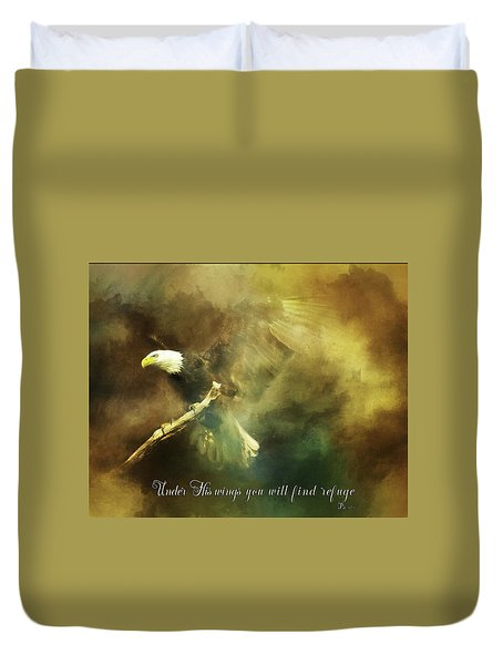 Duvet Cover featuring the photograph My Refuge Psalm 91 by Eleanor Abramson