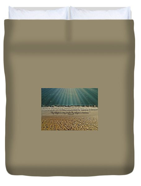 Duvet Cover featuring the mixed media My Religion by Trish Tritz