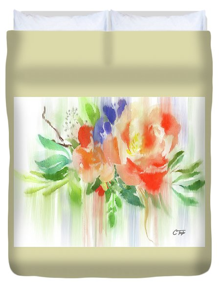 Duvet Cover featuring the painting My Roses Gently Weep by Colleen Taylor