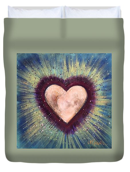 Duvet Cover featuring the painting My Royal Heart by Laurie Maves ART