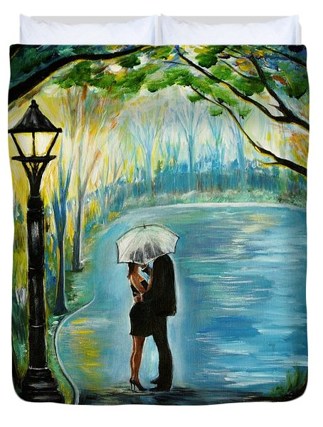 Duvet Cover featuring the painting My Soulmate by Leslie Allen