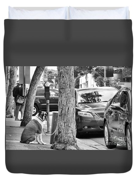Duvet Cover featuring the photograph My Street, Dude by Vinnie Oakes