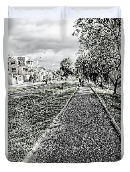 Duvet Cover featuring the photograph My Street II by Al Bourassa
