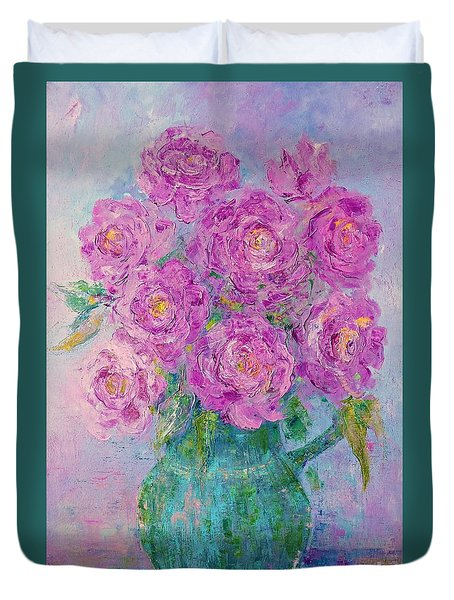 My Summer Roses Duvet Cover by AmaS Art