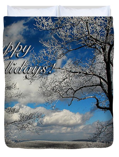 My Sunday Happy Holidays Card Duvet Cover by Lois Bryan