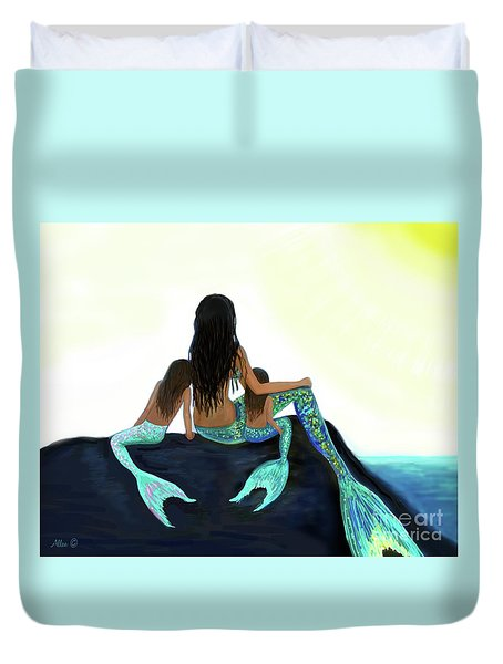 Duvet Cover featuring the painting My Sunshine Girls by Leslie Allen