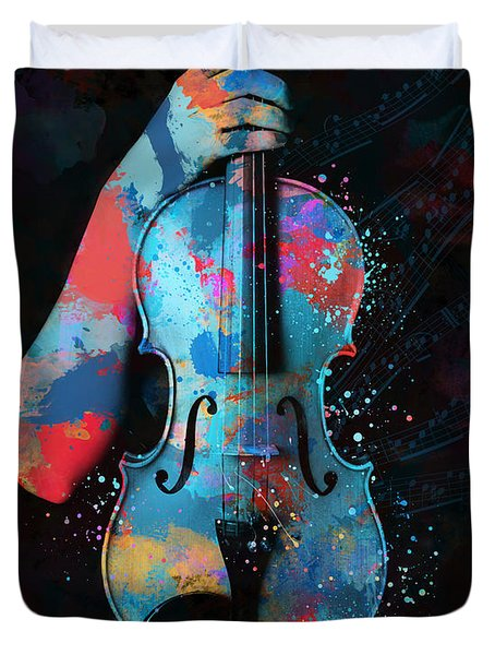 My Violin Whispers Music In The Night Duvet Cover by Nikki Marie Smith