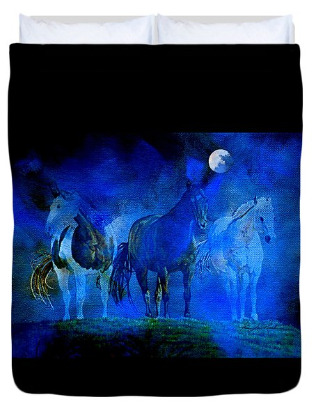 Duvet Cover featuring the painting My Whole World Turns Misty Blue by Hanne Lore Koehler