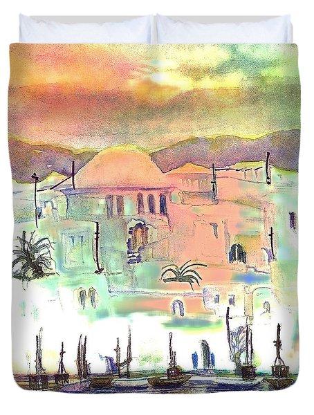 Sunset Over Mykonos Greece Duvet Cover
