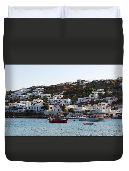 Duvet Cover featuring the photograph Mykonos Fishing Boats by Robert Moss