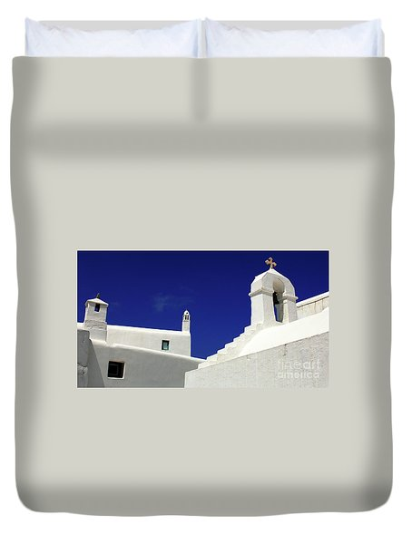 Mykonos Greece Architectual Line 5 Duvet Cover by Bob Christopher