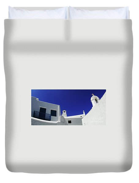 Mykonos Greece Clean Line Architecture Duvet Cover by Bob Christopher