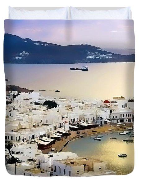 Mykonos Greece Duvet Cover