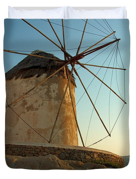 Mykonos Windmill  Duvet Cover by Joe  Ng