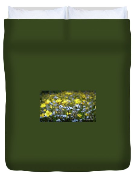 Myosotis With Yellow Flowers Duvet Cover