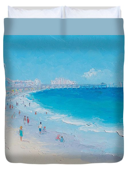 Myrtle Beach And Springmaid Pier Duvet Cover by Jan Matson
